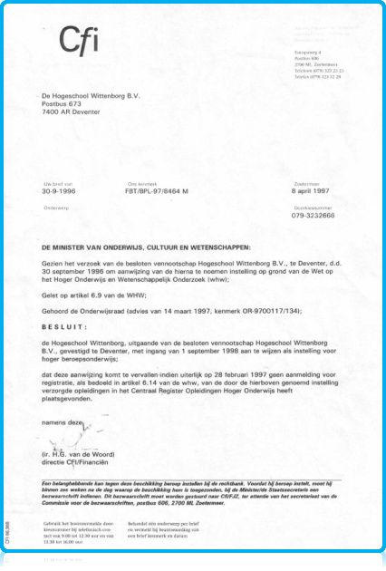 Original CFI Status Wittenborg University as Hogeschool Wittenborg
