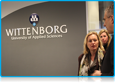 Dutch Education Minister Jet Bussemaker at Wittenborg University with UK Chairman Peter Birdsall 2014