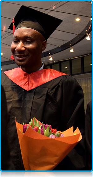 Emmanuel Onyeke from Nigeria who completed an MSc in International Hospitality Management  at WUAS