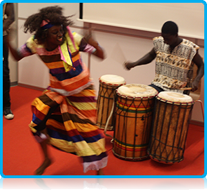 The evening was rounded off with an energetic performance by an African drum-and-dance group who after their performance managed to convince several members of the audience to showcase their dance skills!