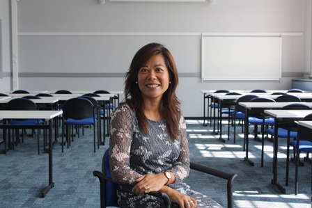 Director Maggie Feng in a classroom at the new Spoorstraat location of Wittenborg University