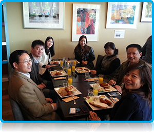 At lunchtime, the Shanghai Business School delegation, joined by director Maggie Feng and China Desk representative Myra Qiu, enjoyed a typical Dutch lunch of Croquettes.