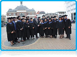 Wittenborg University Graduates outside the Apeldoorn City Hall