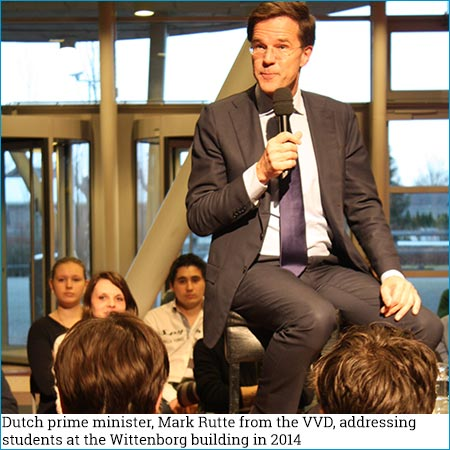 Dutch prime miniter, Mark Rutte from the VVD, addressing students at the Wittenborg building in 2014