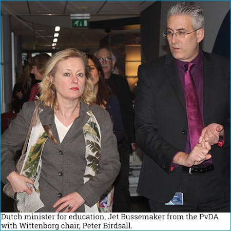 Dutch minister for education, Jet Bussemaker from the PvDA with Wittenborg chair, Peter Birdsall.
