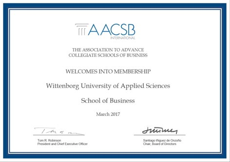 Wittenborg Now Member of Prestigious AACSB Club