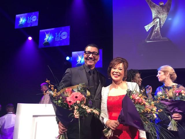 Maggie Feng with Jorgen Raymann - Runner Up Etnische Zakenvrouw van Nederland 2017